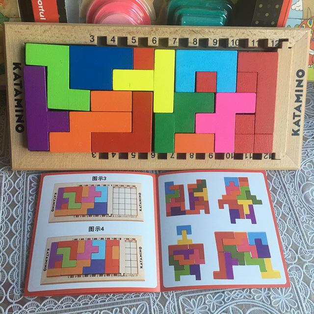 Nueva Llegada De Madera De Haya bloques de Tetris Juguetes Educativos Montessori Katamino Bloques de Construcción Para Niños IQ desafío Regalo