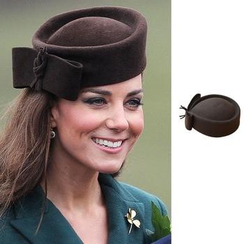 Fedoras sombrero mujer Fascinator sombrero Teardrop Dome Top Bowknot lana  elegante Pillbox sombrero para dama cóctel 8f55b43ab60