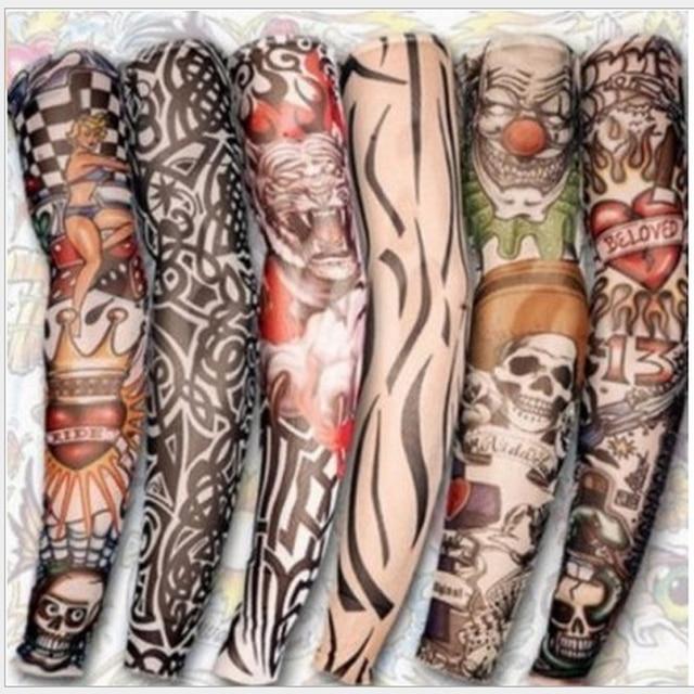 1pc Tattoo Sleeve Styles Elastic Fake nylon Arm Stocking Beloved Girl Buddha Wolf Dragon Design Halloween Cool Men