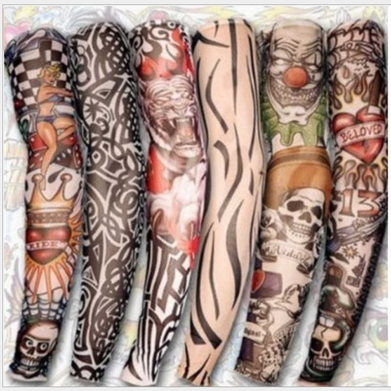 1pc Hot Sale Tattoo Sleeve  Styles Elastic Fake 100%nylon Arm Stocking Beloved Girl Buddha Wolf Dragon Design Halloween Cool Men