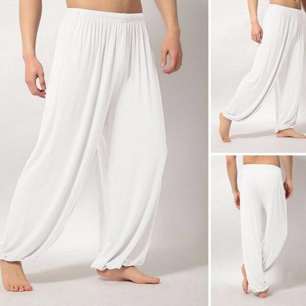 Мужские Супер Мягкие штаны для занятий йогой, штаны для занятий пилатесом, Свободные повседневные шаровары, свободные широкие штаны для отдыха, Мужские штаны XRQ88 - Цвет: Белый