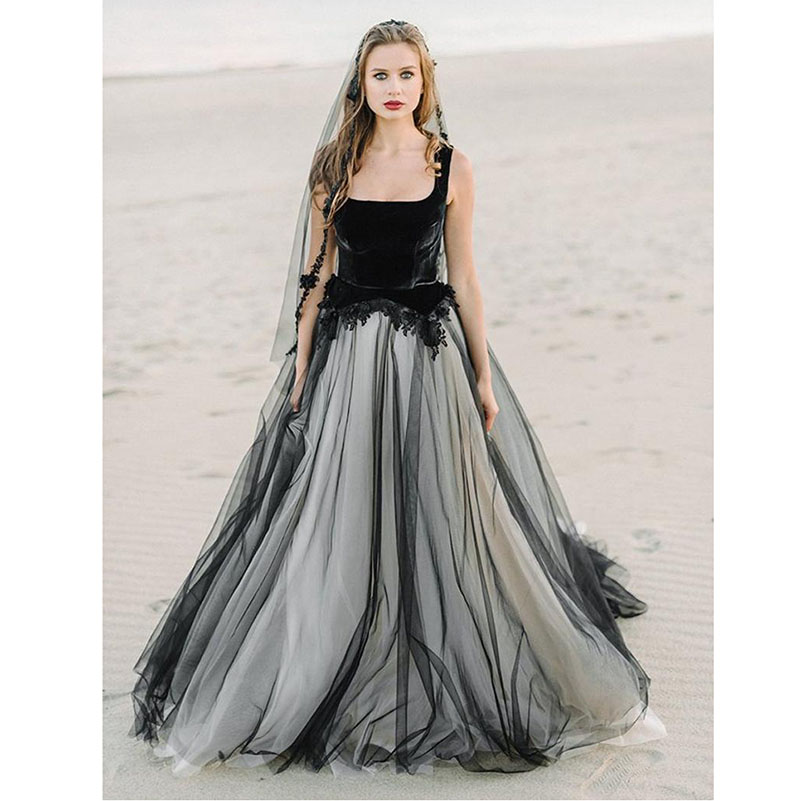 2019 Square Collar Black Wedding Dress Contrast color Bride dresses Lace Appliques Bridal Gowns Backless Vestido De Noiva Lorie in Wedding Dresses from Weddings Events