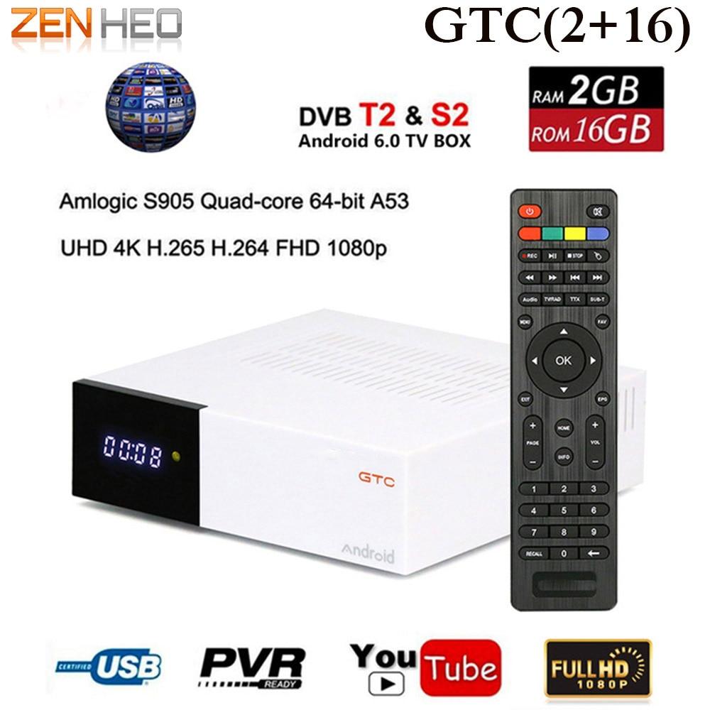Satellite Decoder GTC DVB-S2 DVB-C DVB-T2 Satellite Receiver Amlogic S905D android 6.0 TV BOX 2 GB RAM 16 GB ROM BT4.0 TV Box d202 android dvb t2 tv receiver