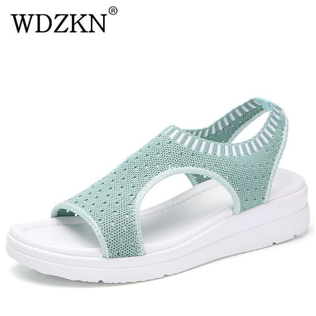 WDZKN 2019 Sandalen Vrouwen Zomer Schoenen Peep Toe Casual Platte Sandalen Dames Ademend Air Mesh Vrouwen Platform Sandalen Sandalias