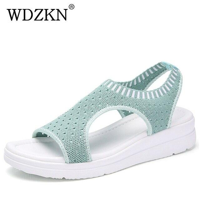 WDZKN/2019 г.; сандалии; женская летняя обувь; повседневные сандалии на плоской подошве с открытым носком; женские дышащие сетчатые сандалии на платформе; Sandalias