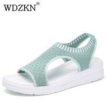 WDZKN 2020 Sandals Women Summer Shoes Peep Toe Casual Flat Sandals Ladies Breathable Air Mesh Women Platform Sandals Sandalias