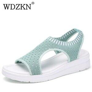 Image 1 - WDZKN sandales dété à mailles dair pour femmes, chaussures dété à bout ouvert, sandales respirantes, plateforme, collection 2020