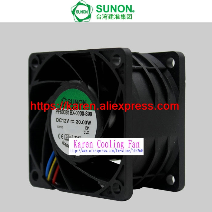 все цены на New Original SUNON PF60381BX-0000-S99 DC12V 30W 60*60*38MM 4 lines PWM temperature control violent cooling fan онлайн