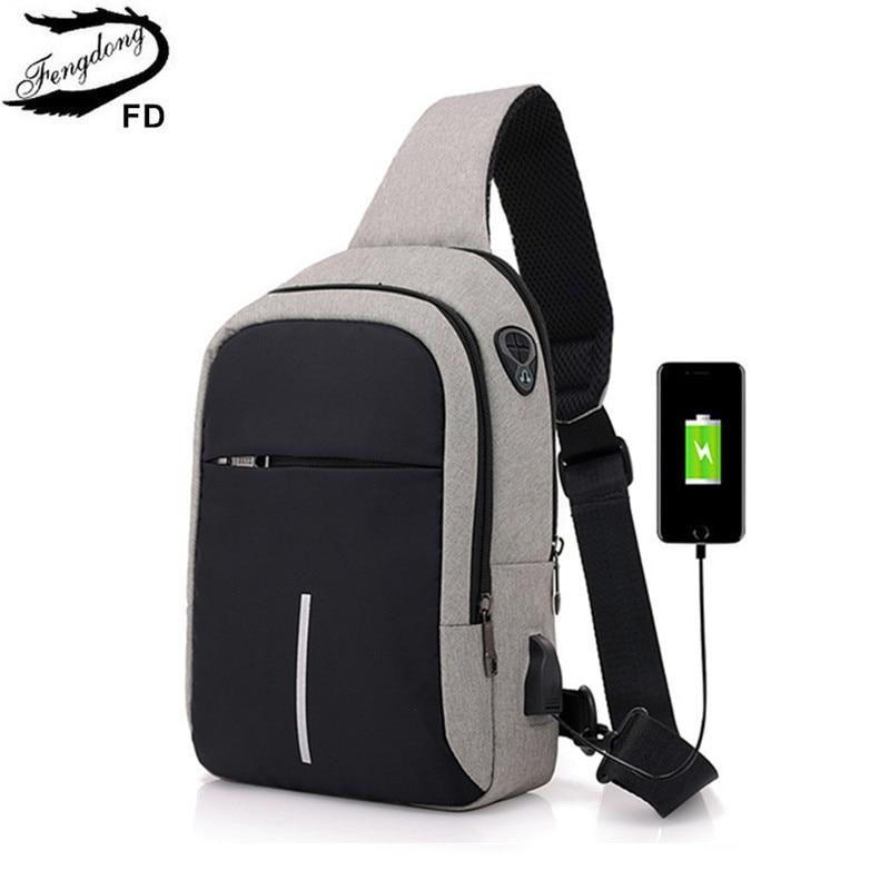 FengDong usb pequeño cargo uno hombro bolso hombres mensajero bolsas hombre impermeable bolso de la Honda del pecho 2018 nuevo mochila Cruz cuerpo bolsas