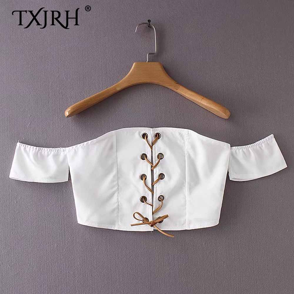 TXJRH Sexy White Bra Bustier Chest Eyelet Cross Tied Bow Off The Shoulder Pullover Fitness Slim fit Tank Tops Short Crop Tee