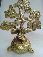 Chinese hand carved brass money tree sculpture art collection