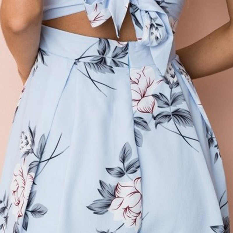 Qunndy Мода 2018 сексуальные женские ремни цветок костюм с принтом лук Повседневная винтажная Высокая талия детские комбинезоны женский комбинезон