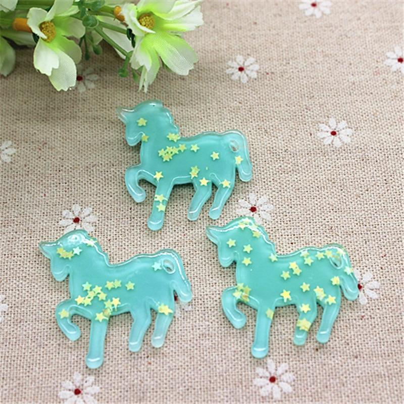 10pcs Kawaii Blue Horse Sparkle Star Inside Resin Flatback Cabochon DIY Scrapbooking Embellishments Making,36*39mm