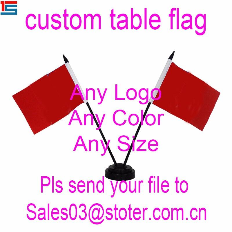 Customized Mini Desk Flag ,Custom Table Flag With Plastic Poles And Black Base