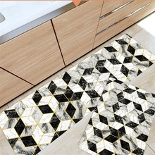 Nordic pvc leather kitchen mat Non-slip oil-proof Strip Waterproof door Imitation marble bathroom carpet Rebound floor