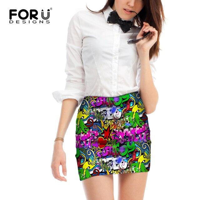 Forudesigns estilo gótico mujeres graffiti patrón mini falda verano ...