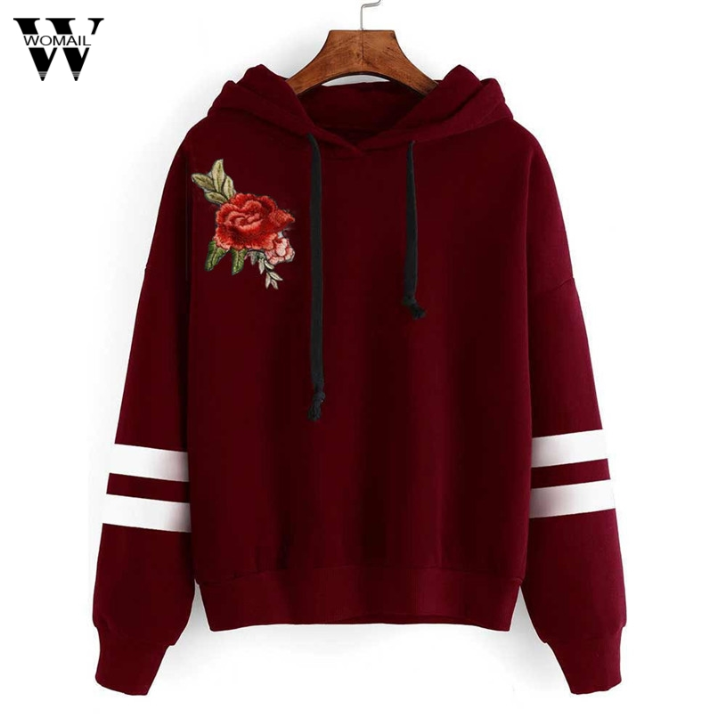2020 #  Autumn Winter Sweatshirts Casual  New Women Flower Character Embroidery Fake Long Sleeve Loose Pullovers Hoodie