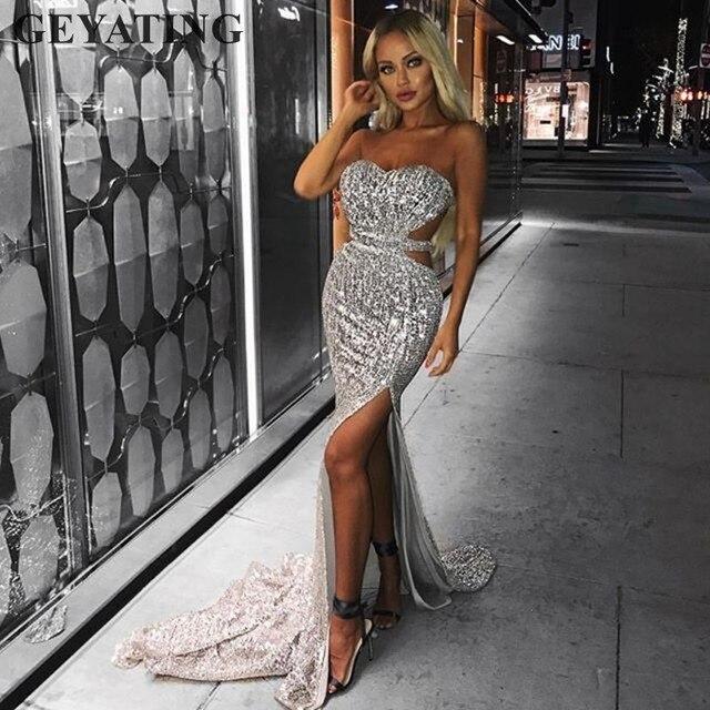 a94e806b7927 € 53.34 20% de DESCUENTO|Sexy Side Split recorte plata lentejuelas sirena  vestidos de graduación largo sin espalda negro Rosa oro mujeres Formal Maxi  ...