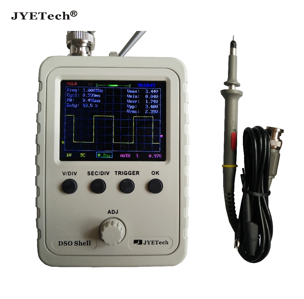 JYETech Original DSO150 DSO Shell Oscilloscope (assembled) with probe included CE certified latest firmware serial data output dso150 digital scope oscilliscope kits avr core with probe