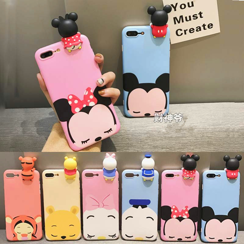 3D Cute Cartoon Mickey Minnie Mouse Donald Duck Soft Silicone Cover For iPhone 5 5s SE 6 6s 7 8 Plus X 6s Plus Phone Cases Funda
