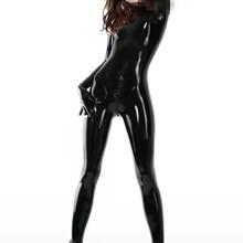 Сексуальный женский латексный комбинезон с носками и перчатками фетиш одежда латексный резиновый боди промежность молния сзади