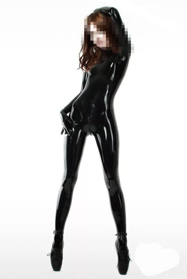 Sexy mulher látex catsuit com meias e luvas fetiche usar látex borracha bodysuit virilha volta zíper