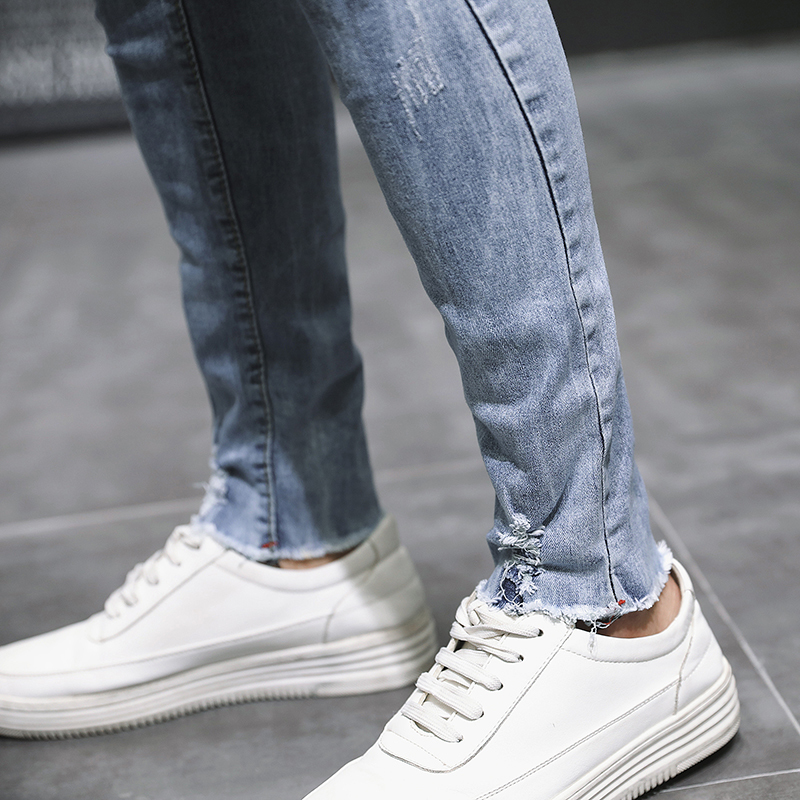 Summer New Skinny Jeans Men Stretch Slim Fashion Tear Hole Denim Pants Man Streetwear Casual Wild Hip Hop Trousers Male Clothes in Jeans from Men 39 s Clothing