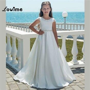64a98ec56ace06b Белые Атласные Платья с цветочным узором для девочек, мягкие Платья с цветочным  узором для девочек на свадьбу 2018, Vestido De Daminha, платья для перв.