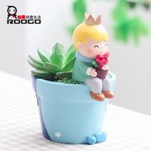 Roogo Boy Flower Pot Mini Succulent Modern Plant Blue Garden Cactus Pots Home Decor Balcony Decorations Planter Gift