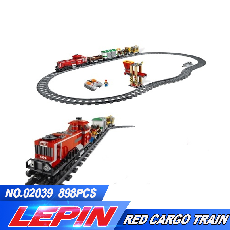 LEPIN 02039 898pcs City Red Cargo Train Building Brick Blocks RC Train Model educational Toys for children Gifts Develop 3677