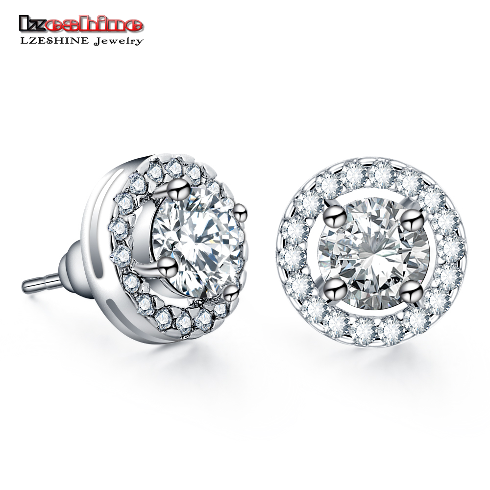 LZESHINE Trendy Stud Earrings With AAA+ CZ Stone Fashion Women Earrings For Wedding/Engagement Jewelry Accessories