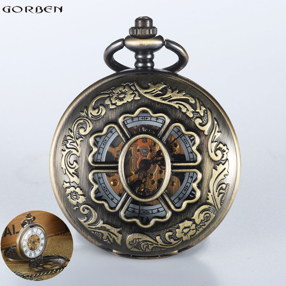 2016 Vintage Steampunk Carving Bronze Mechanical Pocket watches Men Luxury Hand Wind FOB Chain 2 Sides Case Open Women Watch men mechanical pocket watch train man fob watches steampunk bronze roman antique vintage retro stylish hand wind good quality