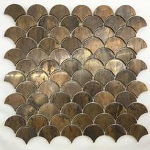 Винтажная медная мозаичная плитка в форме раковины для кухни, бронзовая настенная плитка, Американский промышленный стиль
