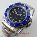 Мужские часы с синим циферблатом  44 мм  с керамическим ободком  светящимися стрелками  2019