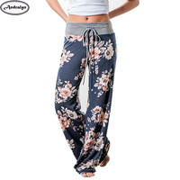 Women Fashion Floral Loose Pants Casual Long Trousers