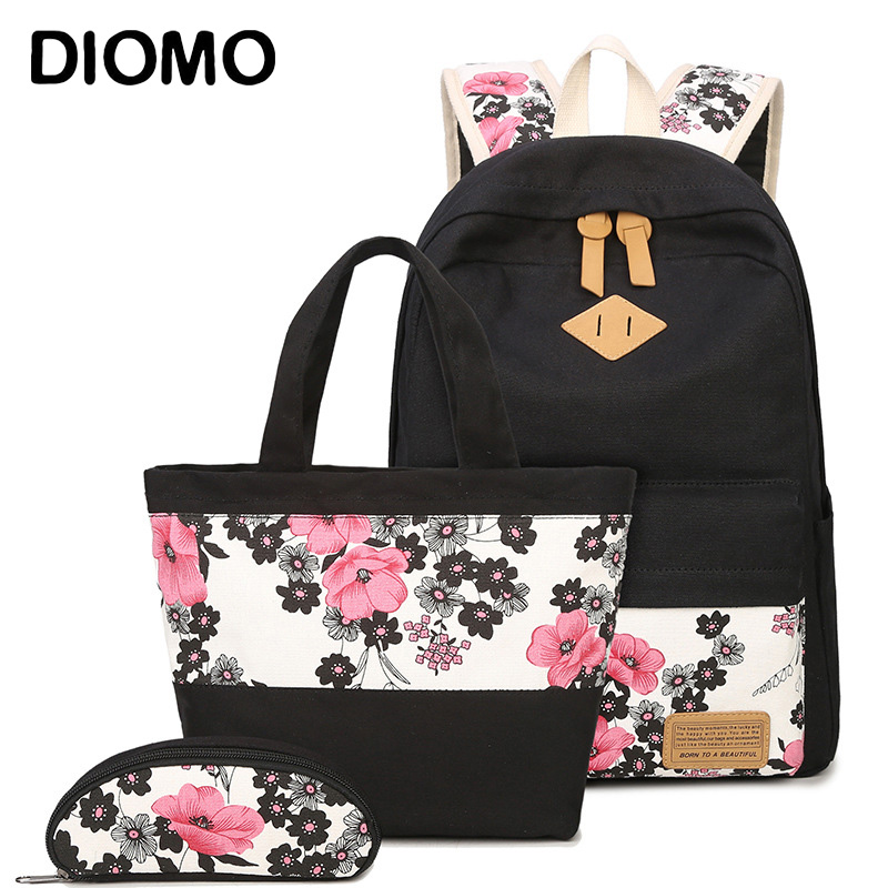 DIOMO Floral School Bag Set For Girls 2018 New Women Backpack Canvas Fashion Flower Print Female Book Bag 3pcs/set