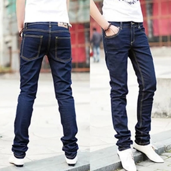 Men Autumn Jeans Zipper Pockets Skinny Middle Waist Pencil Pants Casual Male Trousers TS95