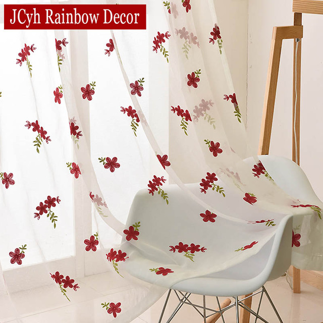 Embroidery White Tulle Curtains For Living Room Bedroom