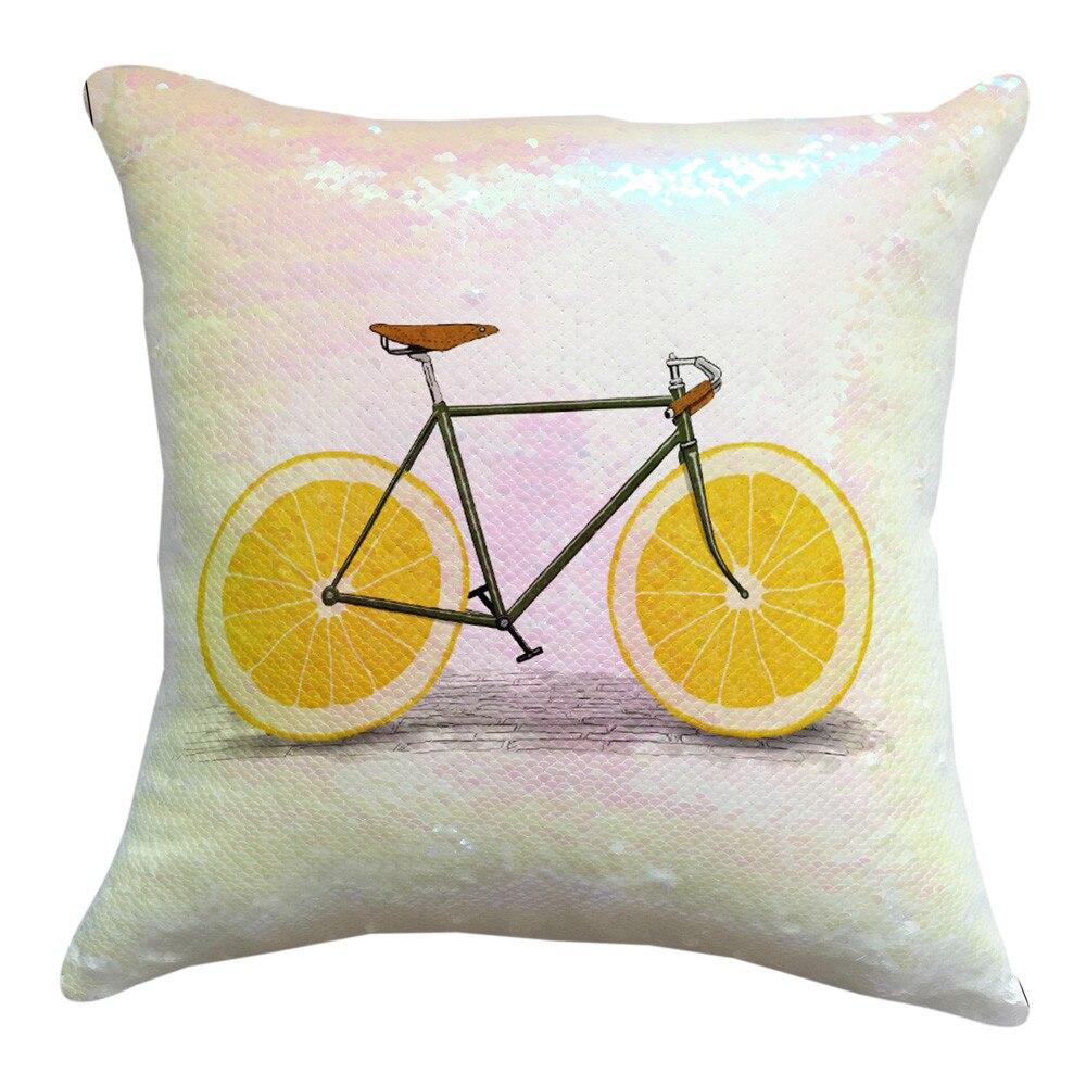 40*40CM Bike Theme Flashing Sequins Glitter Cushion Cover Mermaid Sequins Throw Pillow Decorative Pillowcase Car Cafe Home Decor
