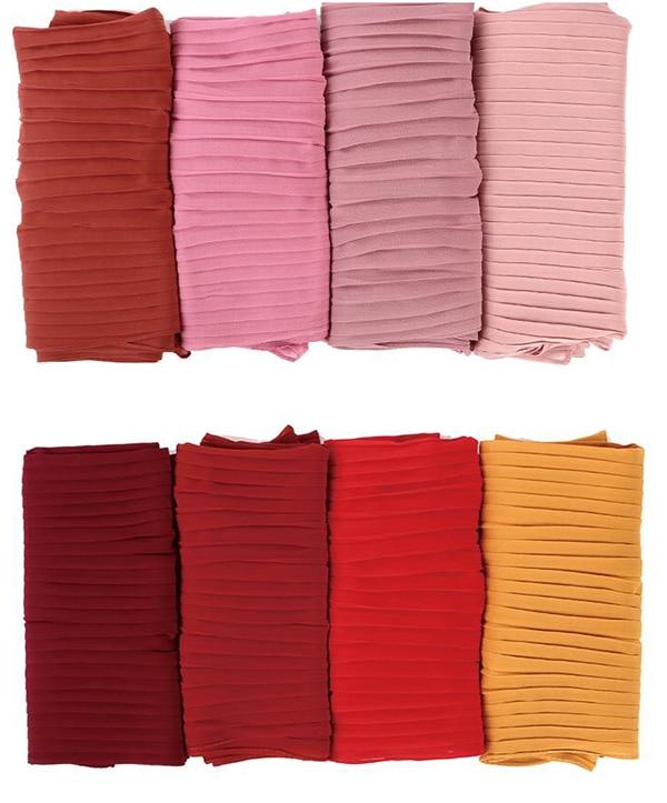 100pcs/lot women muslim solid plain crinkle chiffon hijabs long islamic pleated hijabs   scarves     wraps