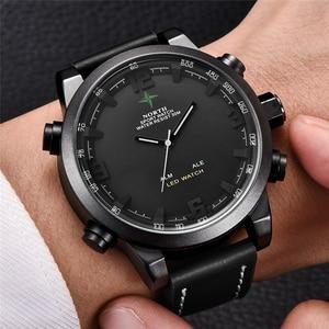 Image 3 - יוקרה מותג צפון מקרית ספורט קוורץ שעון גברים עור אנלוגי אלקטרוני דיגיטלי שעון צבאי שעונים איש Relogio Masculino
