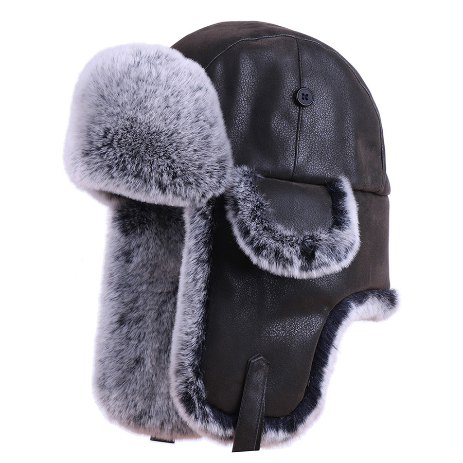 2019 Russian Ushanka Hat PU Leather Snow Ski Cap Ear Flap Faux Rabbit Fur Pilot Aviator Trooper Winter Men's Trapper Bomber Hat(China)