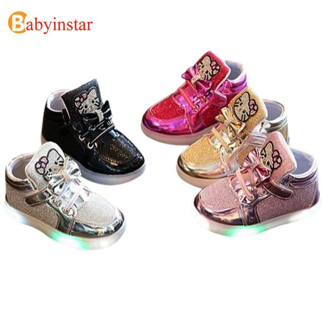Babyinstar New Fashion 2017 LED Lights Children Casual Shoes Baby Walker Cute Cartoon Hello Kitty Girl's Princess Shoes