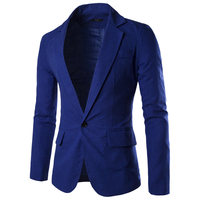 Men Blazer Slim Fit Long Sleeve Single Button Solid Color Suit Coat Men Blazer Jacket 2016