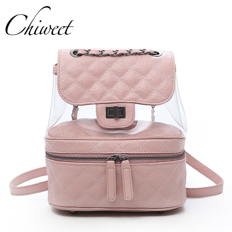 Famous Brand Designer Leather Backpacks Luxury Transparent Bag Large Quilted Plaid Women Backpack Girl Cute Mochila Student