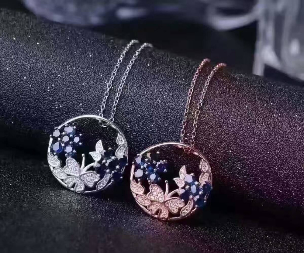 natural blue sapphire pendant S925 silver Natural gemstone Pendant Necklace trendy Luxury flower butterfly women party jewelry 60pcs lot 2017 retro key dry flower necklace natural wheat flower glass ball pendant jewelry accessory butterfly necklaces