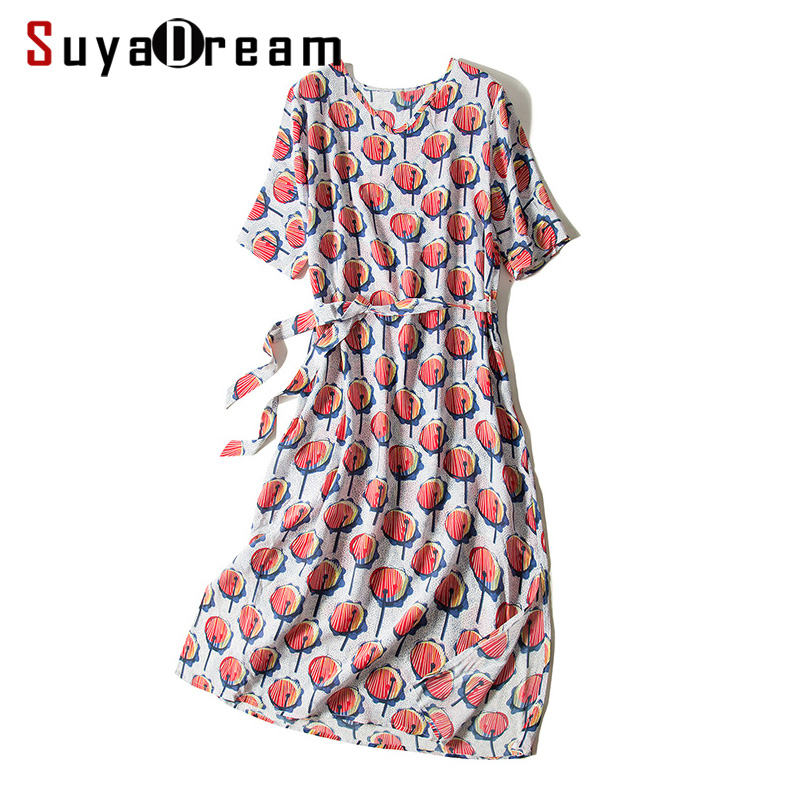Women Print Dress 100%SILK CREPE Casual Belted Dresses for Women Printed Short Sleeved A Line 2019 Summer Dresses-in Dresses from Women's Clothing    1