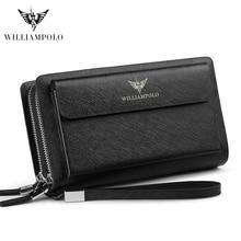 цена Brand Men Clutch Bag Fashion Leather Long Purse Double Zipper Business Wallet Black Blue Male Casual Handy Bag онлайн в 2017 году