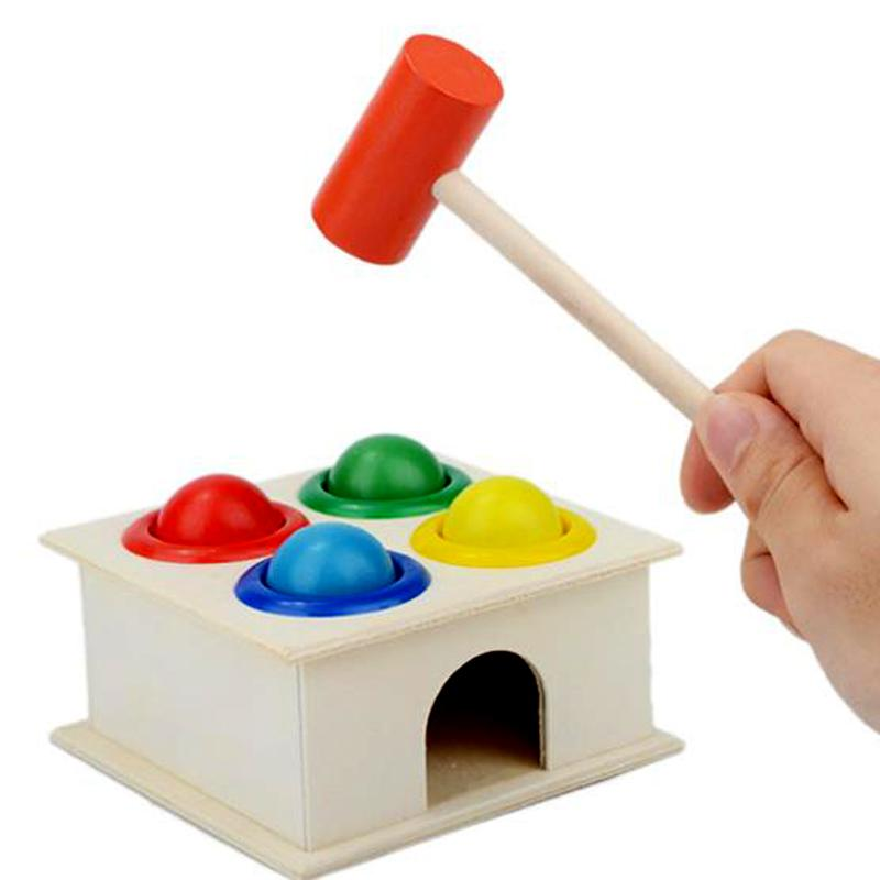 Kids Hammering Ball Hammer Box Montessori Educational Wooden Toys Children Fun Playing Hamster Game Early Kids Toys baby toys wooden knocks pillar platform wood toys hammering children early learning educational toys brand juguetes