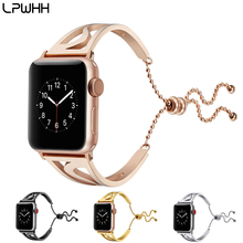 LPWHH Stainless Steel For Apple Watch Band 38mm 42mm Elegant S Type Wristwatch Band 20mm Gold Rose Black Silver Beading Bracelet